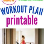 lady on a treadmill working out at home with title at the top 20 min treadmill workout plan printable