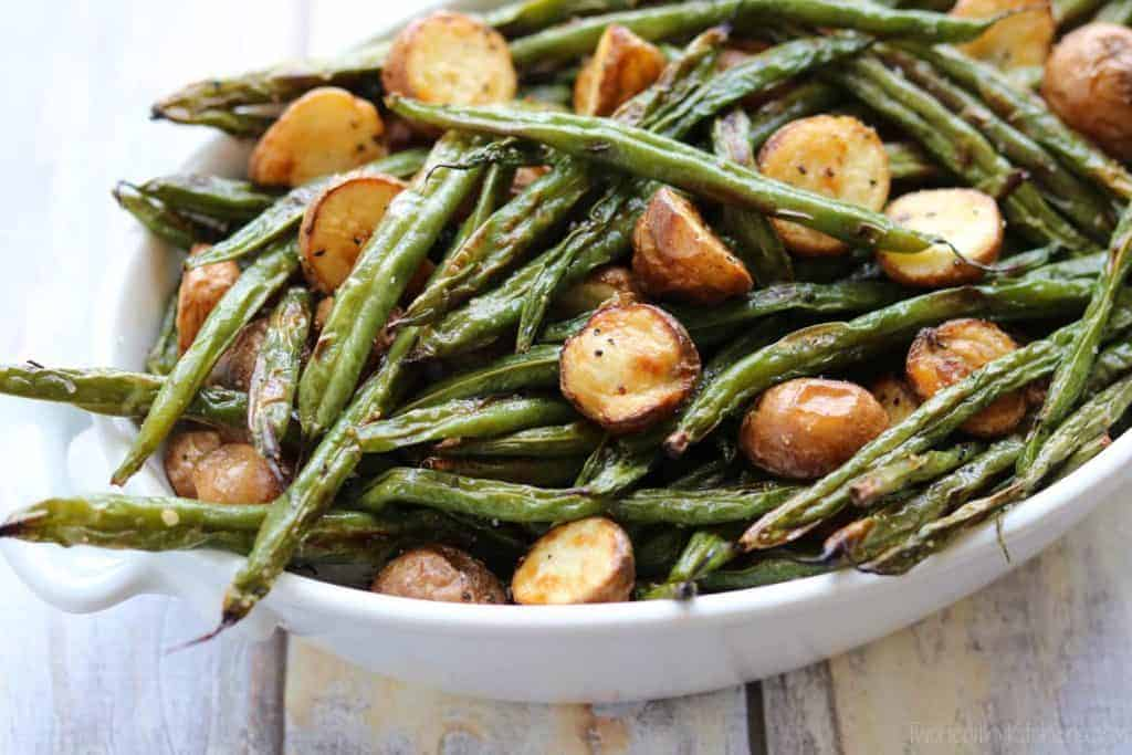 fresh green beans roasted with small potatoes