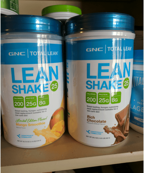 GNC lean shake mango and chocolate flavors that reduce calories to lose weight