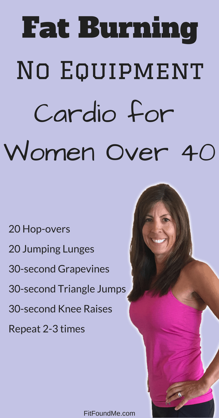 list of exercises for 30 minute cardio no equipment needed workout for women over 40