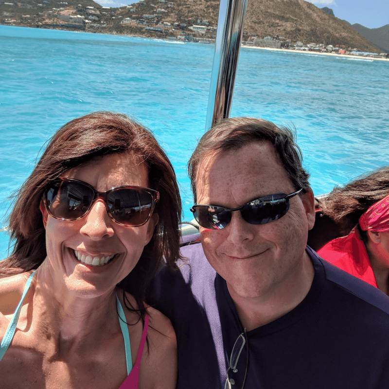 Stephanie and Andrew on water taxi in St Maarten
