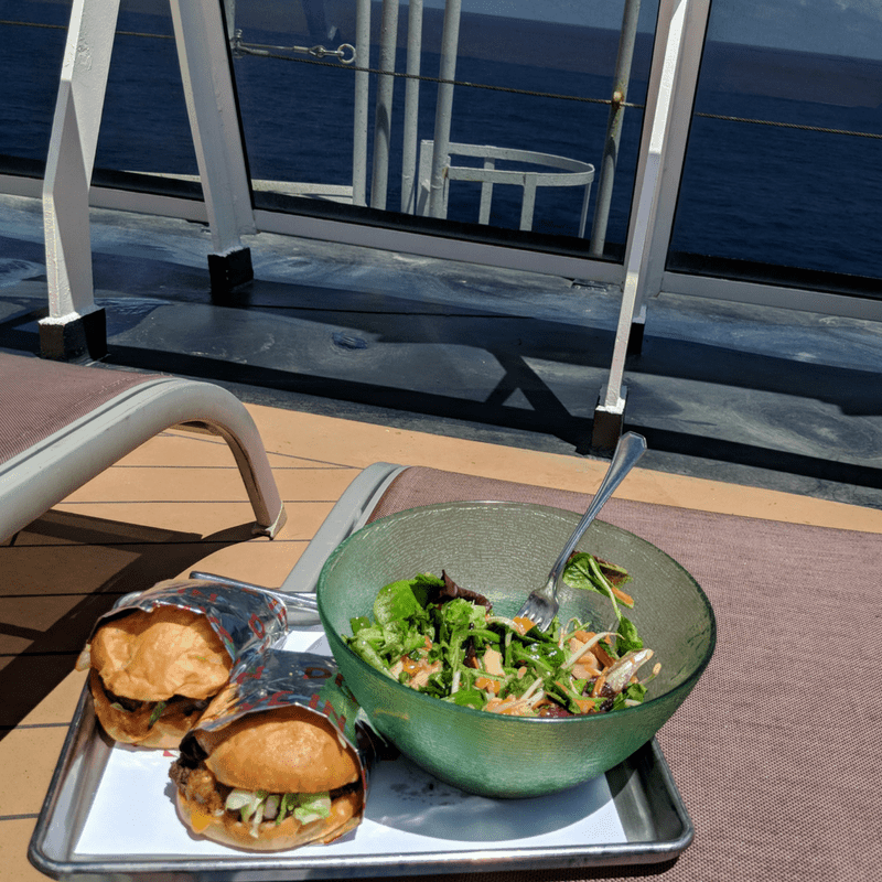 burgers and salad on cruise deck