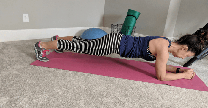 Stephanie doing a plank exercise