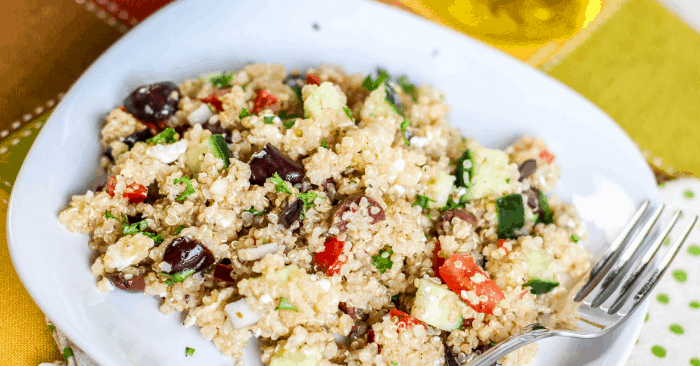 easy, quick greek quinoa salad in a bowl
