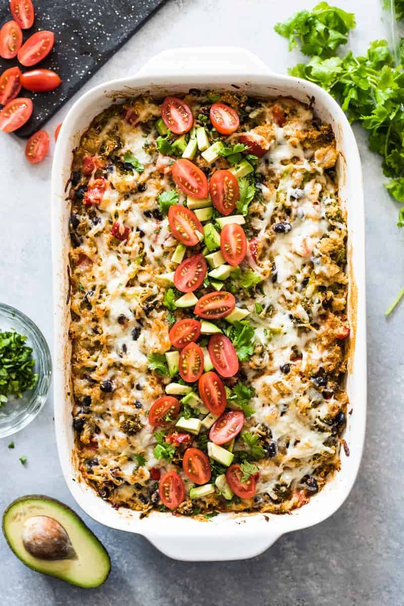 Quinoa with mexican food in an enchilada casserole with broccoli
