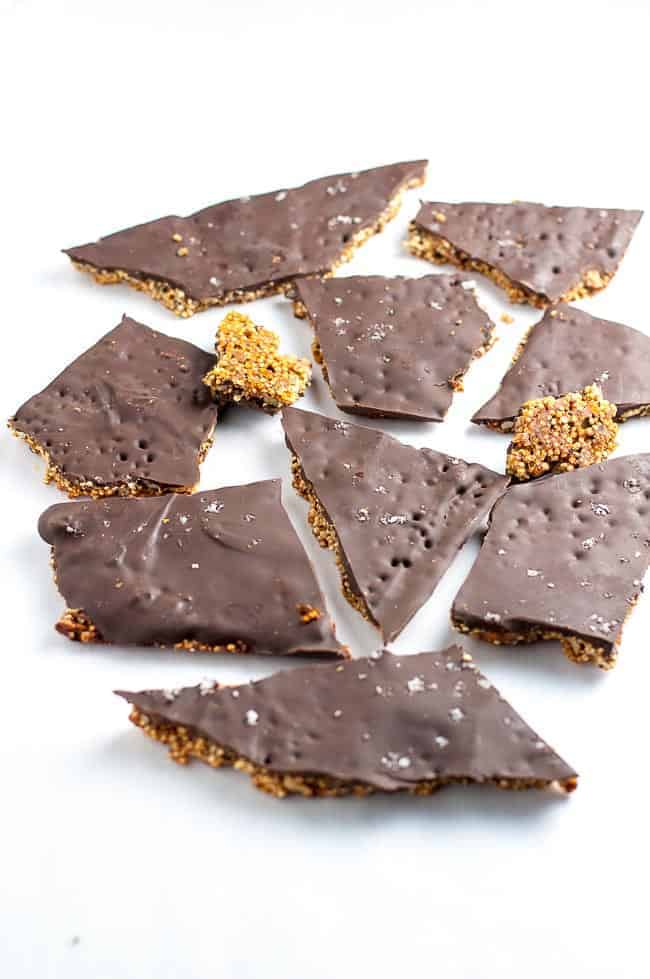 healthy dessert with quinoa and chocolate bark snack