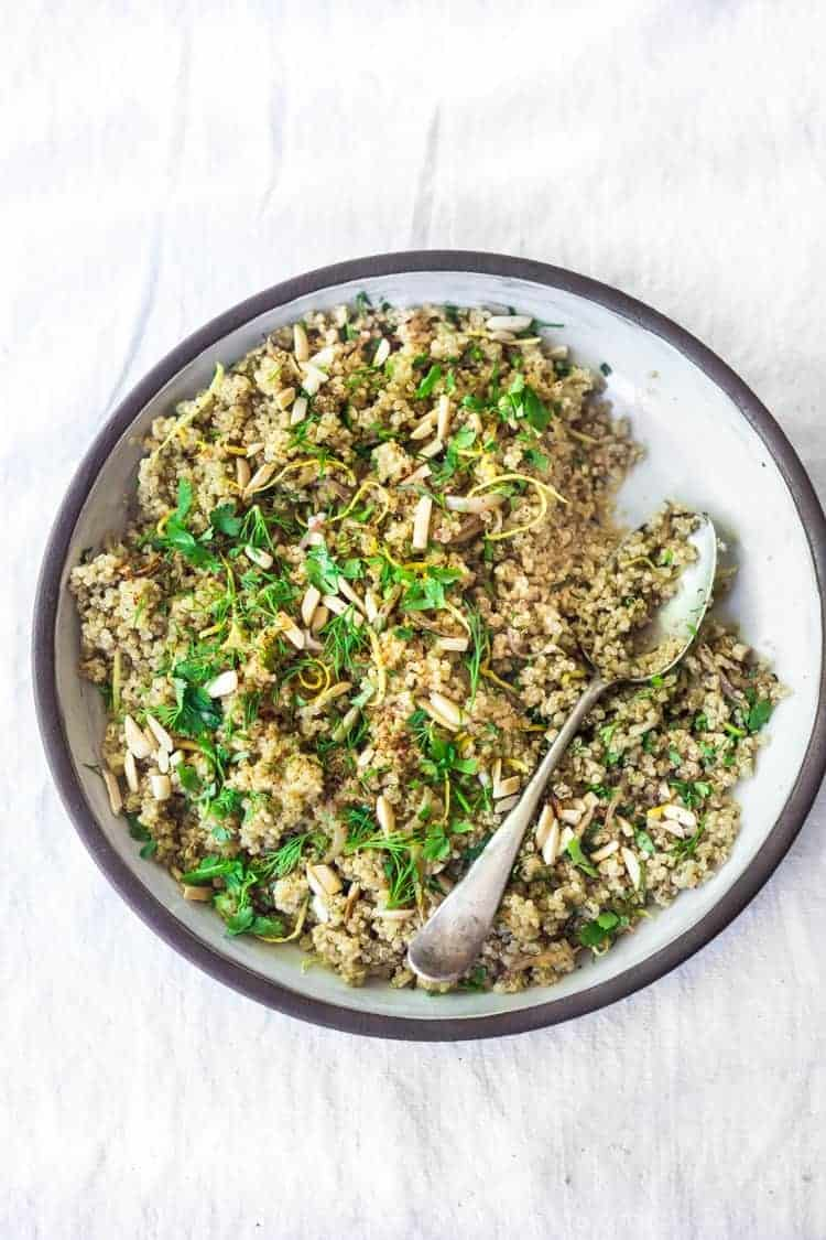 quinoa bowl with shallow and herbs side dish