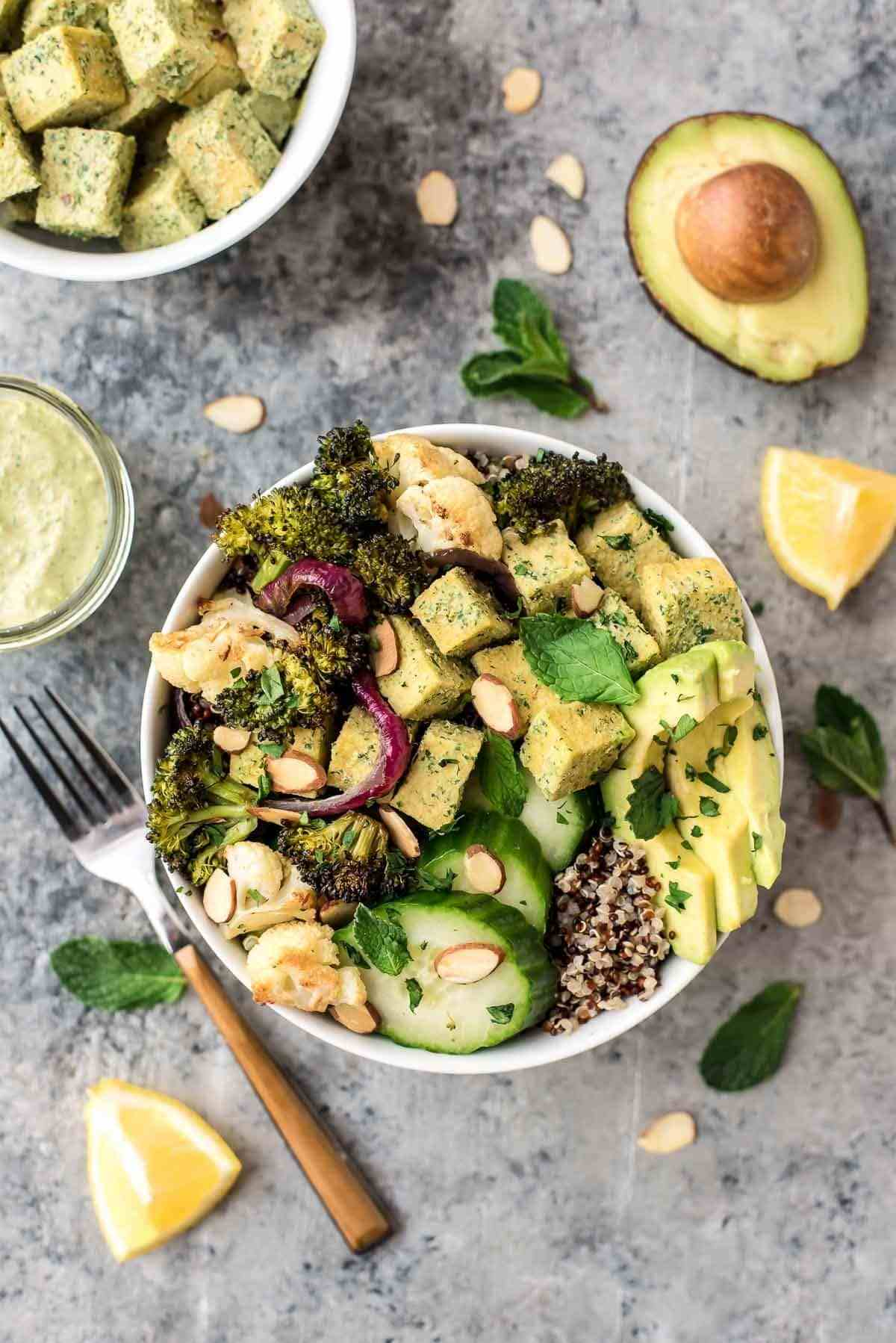Roasted veggie bowl with quinoa, avocado