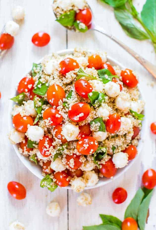 tomato with mozzarella and basil quinoa salad