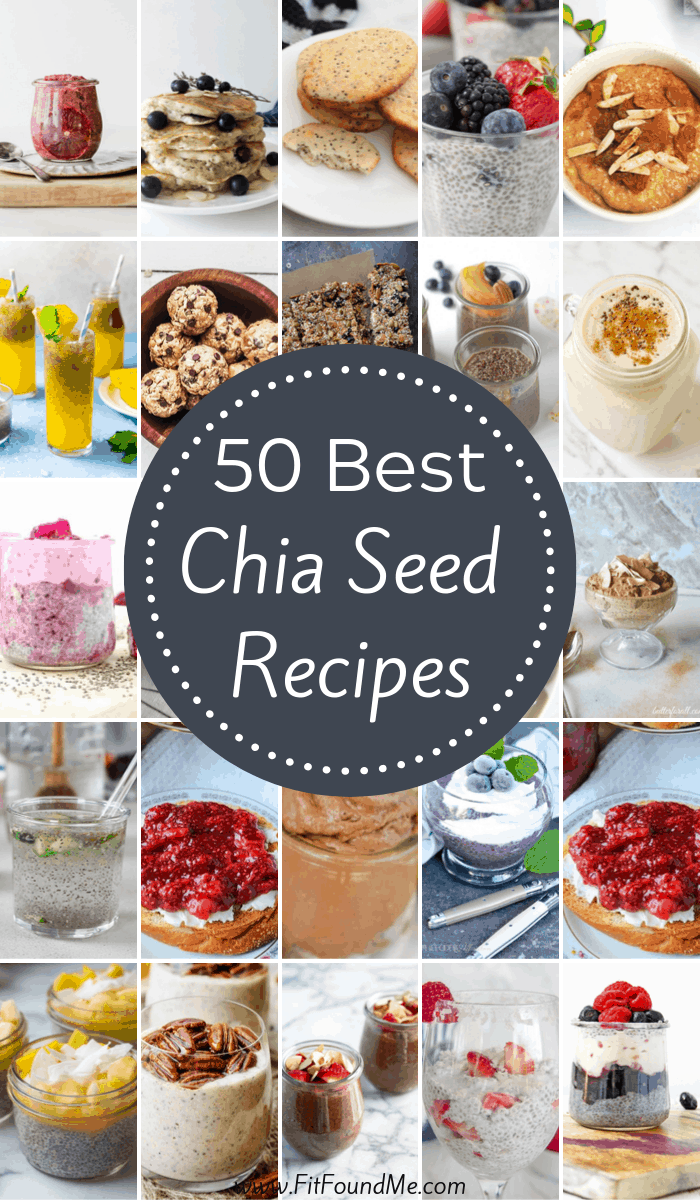 collage of chia seed recipes