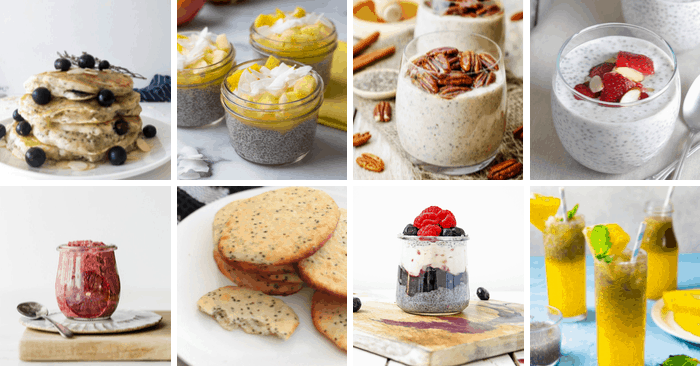 chia recipe collage of 8 recipes