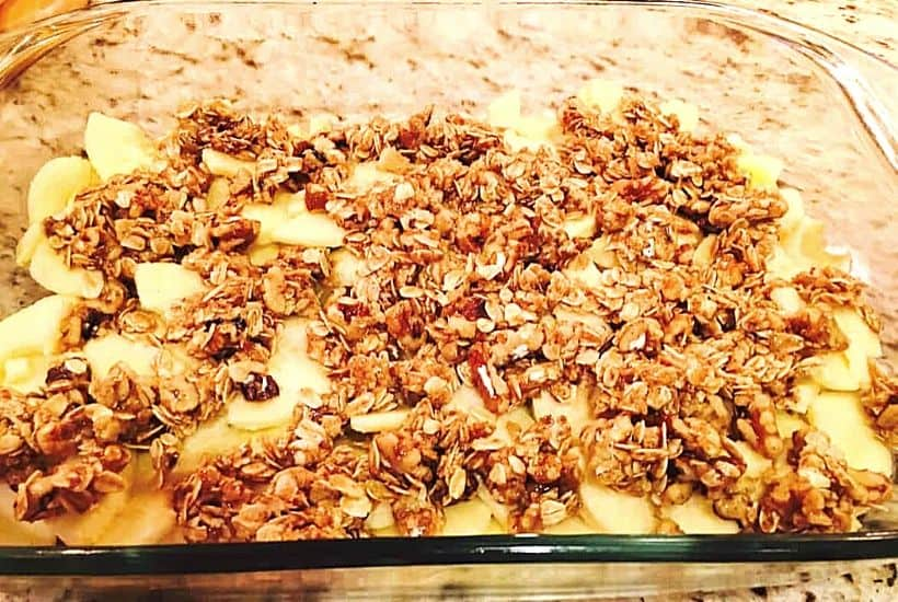 apple crisp is pan ready to be baked