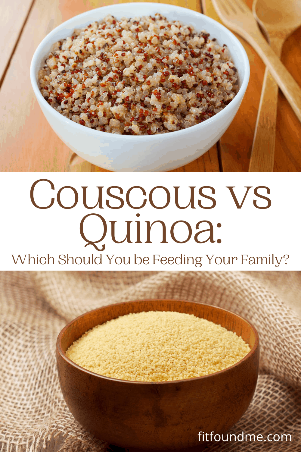 Couscous vs quinoa is a great question for those of us just starting to eat healthier after 40. It was all mashed potatoes and pasta as staples until a few years ago at our house. As I have transitioned to healthier meals, couscous and quinoa have made it to my shopping lists. Maybe you are asking the same questions I was - What should you be serving your family, couscous or quinoa? What is the difference between the two? via @fitfoundme