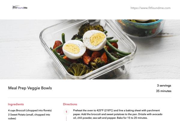 recipe example with veggie bowl