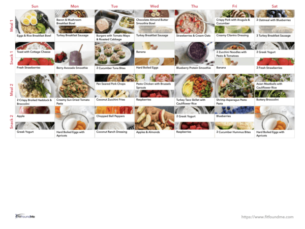 example of weekly meal plan schedule