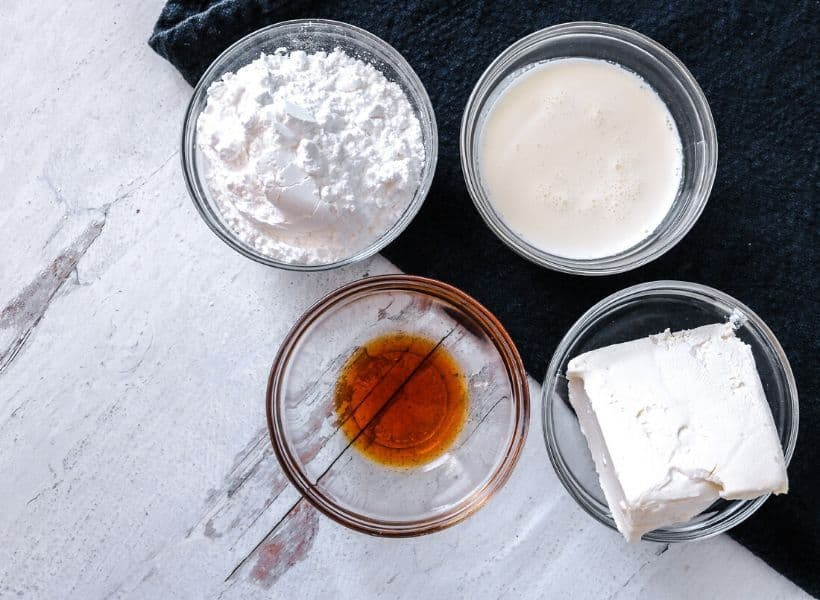 cream cheese drizzle ingredients in bowls