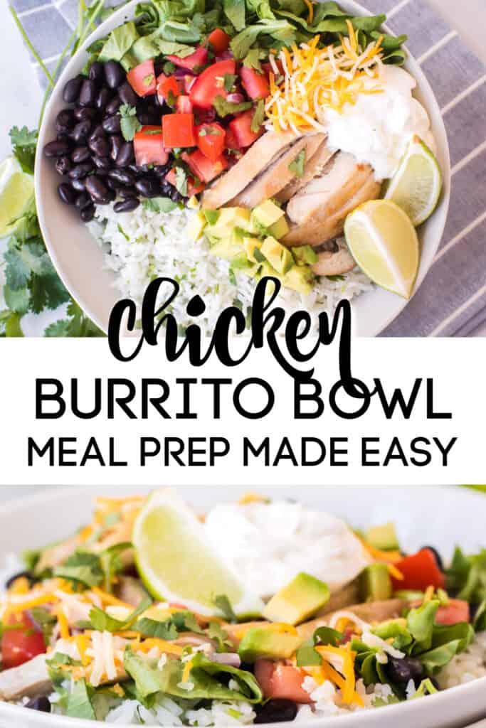 chicken burrito bowl with black beans, pico de gallo, cilantro, lettuce, rice, sour cream. lime, chicken, avocado