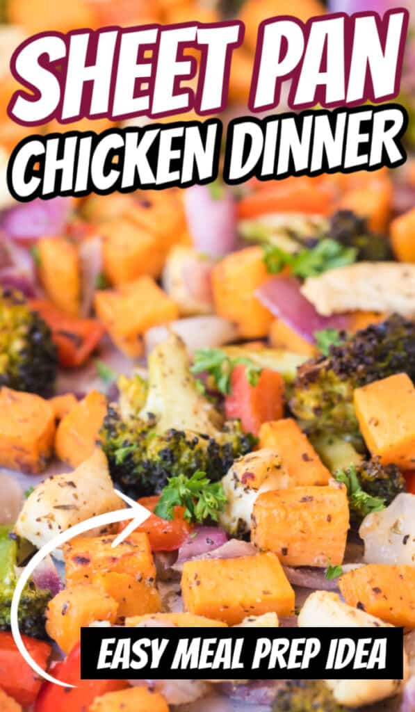chopped roasted vegetables on sheet pan chicken dinner
