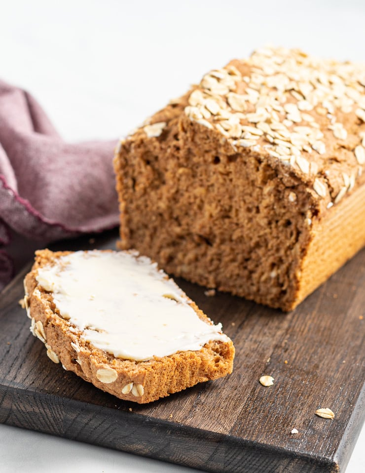 yeast free spelt bread sliced with butter