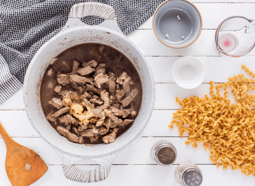 steak with other ingredients in dutch oven