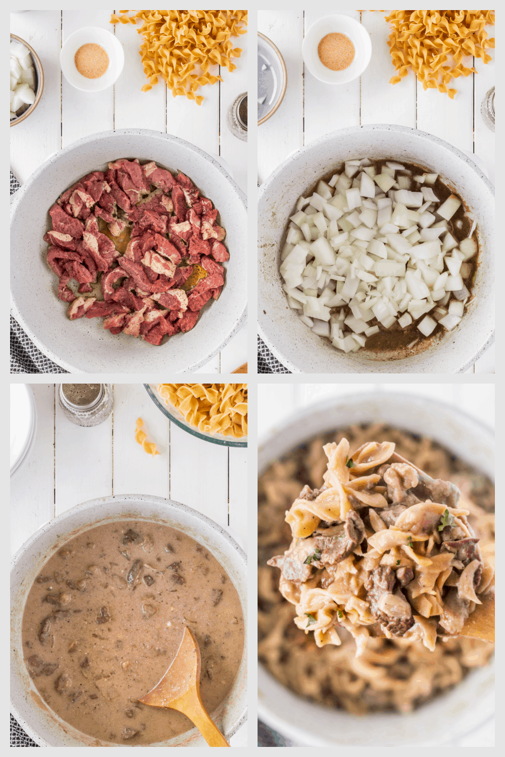 This is a one pot meal that's so good my family assumes it's not good for them...but guess what, it's completely guilt-free. Personally, we don't like mushrooms, so I make the beef stroganoff without mushrooms, but if you prefer mushrooms, it would be easy to add them. Using the traditional egg noodles, this stroganoff is everything you expect a Fall comfort food (or any time of the year) to be and more.  via @fitfoundme