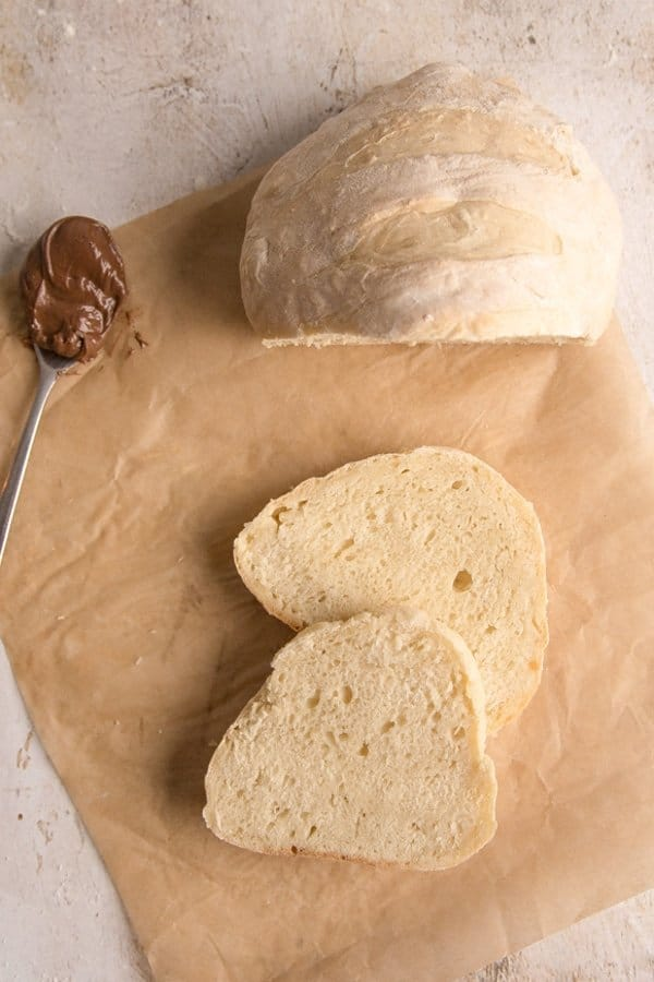 no yeast bread sliced on cutting board