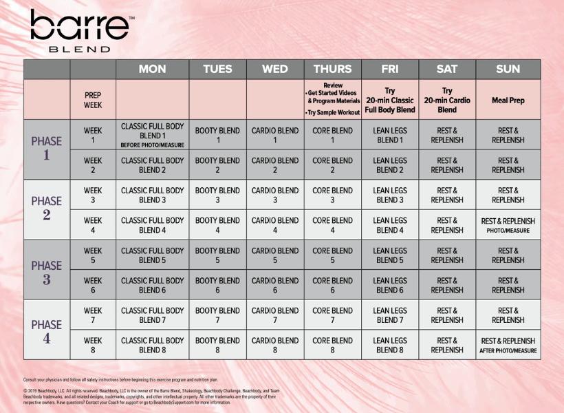 beachbody barre blend 8 week workout calendar